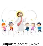 Poster, Art Print Of Stickman Kids Jesus Dance Music Illustration