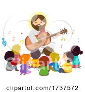 Poster, Art Print Of Stickman Kids Jesus Play Guitar Music Illustration