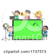 Stickman Kids Media Production Tab Illustration
