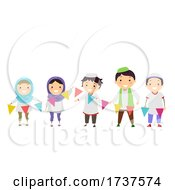 Stickman Kids Muslim Hold Buntings Illustration