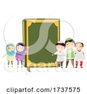 Poster, Art Print Of Stickman Kids Muslim Quran Book Illustration
