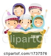 Poster, Art Print Of Stickman Kids Muslim Read Quran Illustration
