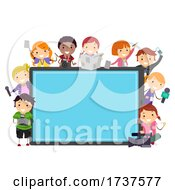 Poster, Art Print Of Stickman Kids News Production Tab Illustration