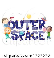 Stickman Kids Outer Space Lettering Illustration