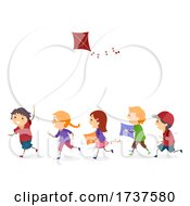 Poster, Art Print Of Stickman Kids Play Kite Illustration