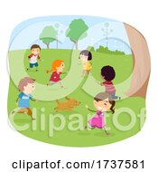 Poster, Art Print Of Stickman Kids Play Tag Illustration