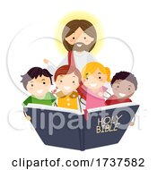 Poster, Art Print Of Stickman Kids Read Bible Jesus Illustration