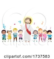 Poster, Art Print Of Stickman Kids Sing Jesus Music Notes Illustration