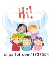 Poster, Art Print Of Stickman Kids Social Skills Say Hi Illustration