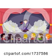 Poster, Art Print Of Stickman Kids Stage Magic Performance Illustration