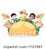Poster, Art Print Of Stickman Kids Taco Day Mexican Hats Illustration