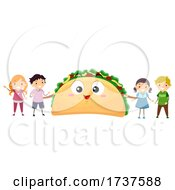Poster, Art Print Of Stickman Kids Taco Day Taco Mascot Illustration