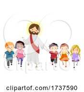 Poster, Art Print Of Stickman Kids Walk With Jesus Illustration