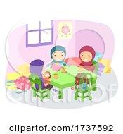 Stickman Kids Girls Muslim Tea Party Illustration