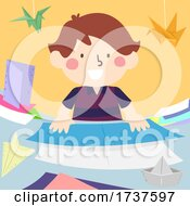 Kid Boy Folding Papers Origami Illustration