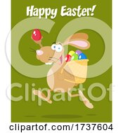 02/24/2021 - Bunny Running With An Egg With Happy Easter Text On Green
