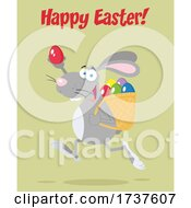 02/24/2021 - Easter Bunny Running With An Egg With Text