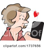 Woman Reading Or Sending A Compassionate Text Message