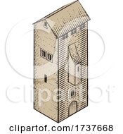 02/25/2021 - Medieval Building Map Icon Vintage Illustration