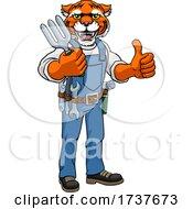 Poster, Art Print Of Tiger Gardener Gardening Animal Mascot