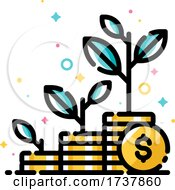 Financial Investments or Money Savings Concept with Three Stacks of Coins and Plants Growing Up by elena #COLLC1737860-0147
