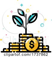 Income Increase and Make More Money Concept with Plant Growing out of Gold Coins by elena #COLLC1737862-0147