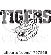 Tiger Sports Team School Mascot And Distressed Text Black And White