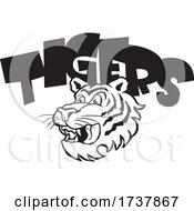 Tiger Sports Team School Mascot And Text Black And White