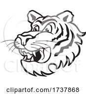 Tiger Sports Team School Mascot Black And White by Johnny Sajem