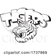 Tiger Sports Team School Mascot Head And Text Black And White