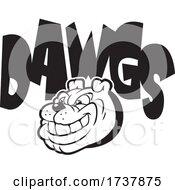Bulldog Sports Team School Mascot And DAWGS Text Black And White