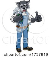Wolf Mascot Carpenter Handyman Holding Hammer