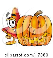 Clipart Picture Of A Traffic Cone Mascot Cartoon Character With A Carved Halloween Pumpkin