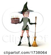 Poster, Art Print Of 3d Sexy Green Witch On A White Background