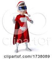 03/02/2021 - 3d White Male Super Hero Christmas Santa On A White Background