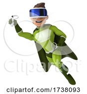 03/02/2021 - 3d White Male Green Super Hero On A White Background