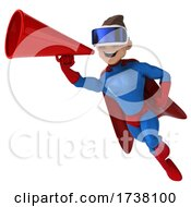 03/02/2021 - 3d White Male Blue And Red Super Hero On A White Background
