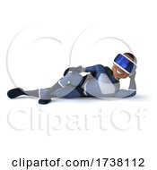 03/02/2021 - 3d Young Black Male Super Hero Wearing VR Goggles On A White Background