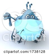 03/02/2021 - 3d Blue Germ Virus On A White Background