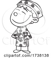 Cartoon Black And White Viatnamese Boy