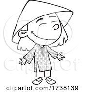Cartoon Black And White Viatnamese Girl