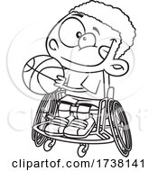 Cartoon Black And White Boy Playing Basketball In A Wheelchair