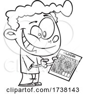 Cartoon Black And White Boy Holding A Calendar For Red Letter Day