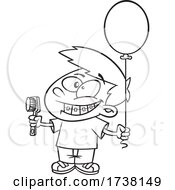 Cartoon Black And White Boy Grinning And Visiting With A Toothbrush And Balloon