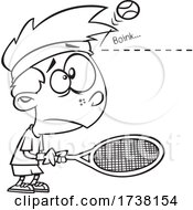 Cartoon Black And White Boy Being Bonked On The Head By A Tennis Ball