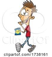 Cartoon Teen Boy Walking And Snacking