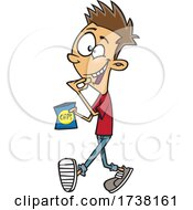 Cartoon Teen Boy Walking And Snacking
