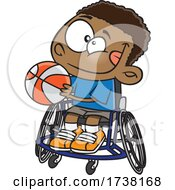 Cartoon Boy Playing Basketball In A Wheelchair
