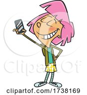Cartoon Girl Taking A Selfie