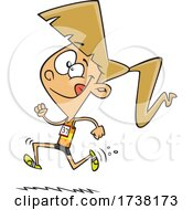Cartoon Track And Field Girl Running